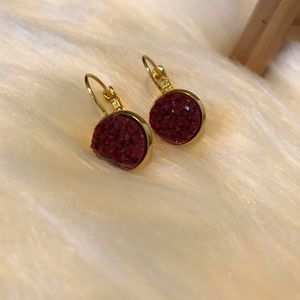 Maroon Druzy Earrings